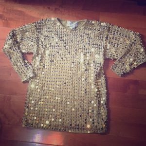 Adrienne Vittadini gold sequined sweater, size M